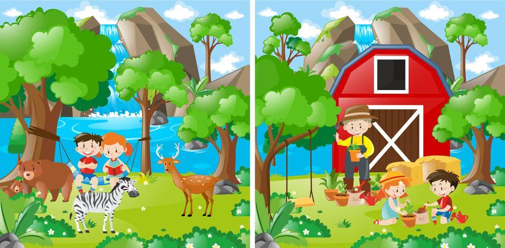Duas cenas de fazenda com crianças e agricultor vetor