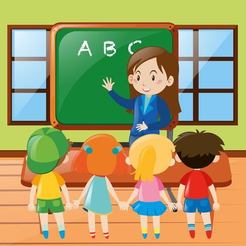 Teacher teaching in classroom vector