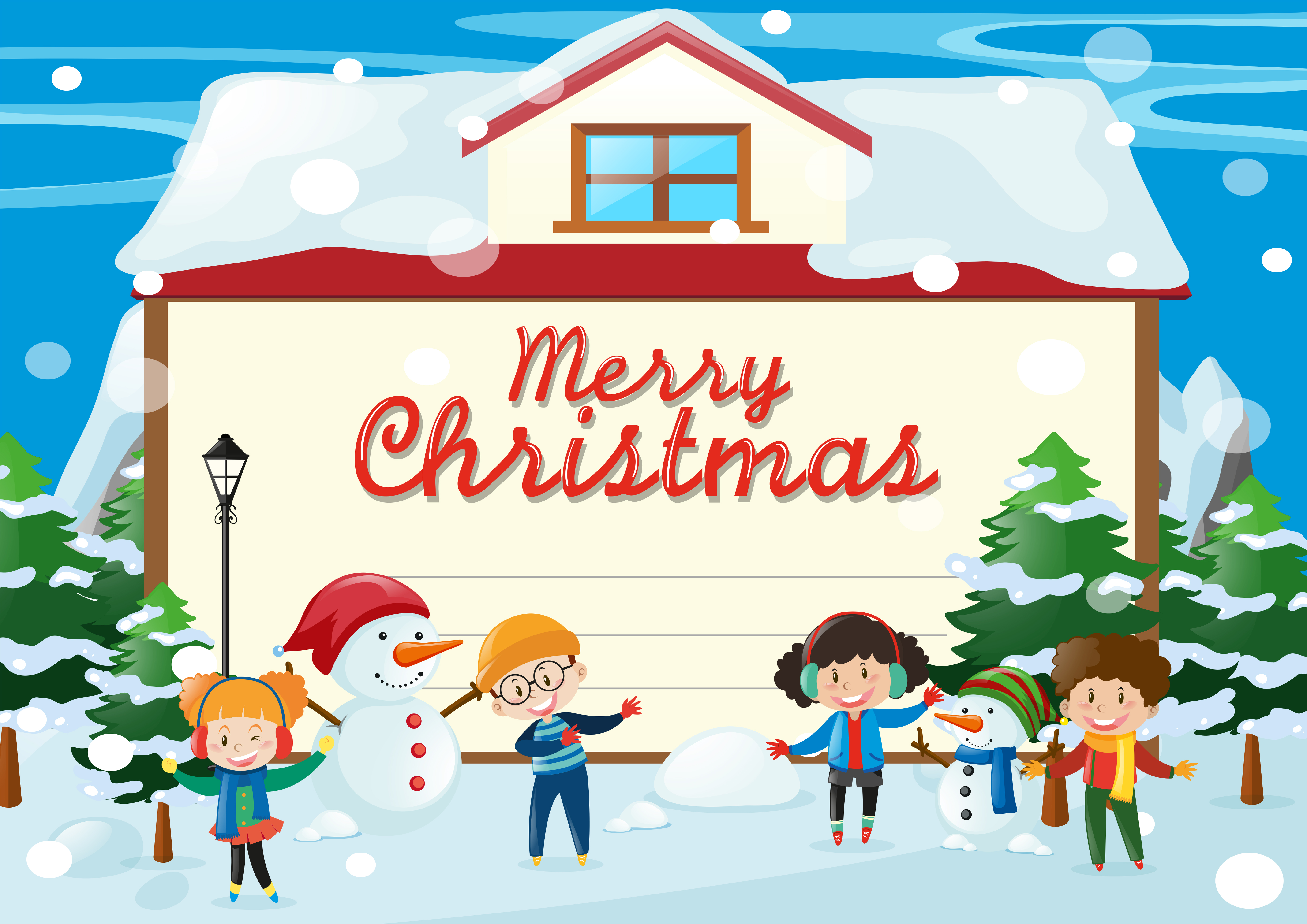 Christmas card template with kids in the snow - Download ...