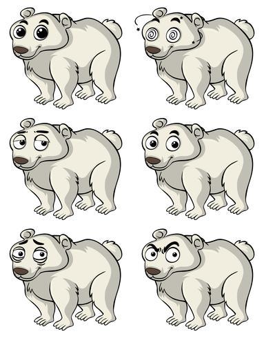 Ours polaire avec différentes expressions faciales vecteur