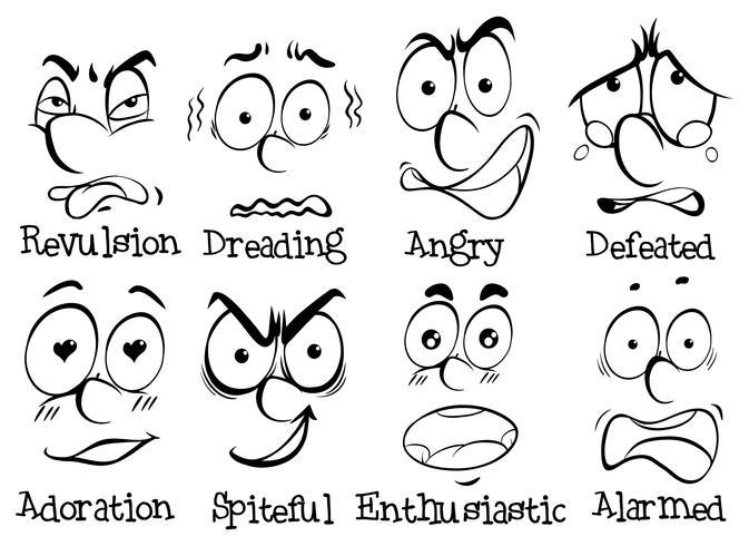 Rostos humanos com emoções diferentes