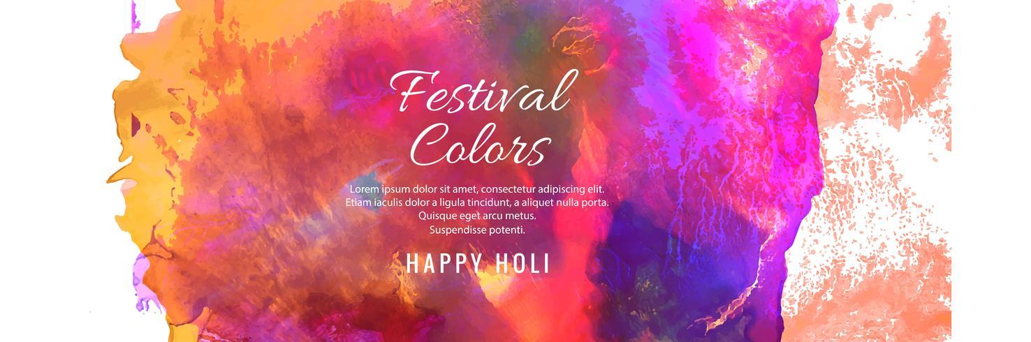 Diseño de banner colorido feliz Holi India festival de primavera vector