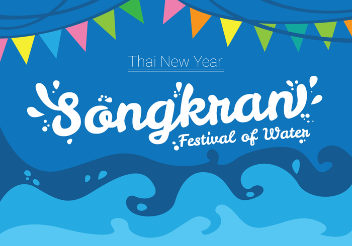 Festival de diseño de cartel de Songkran vector