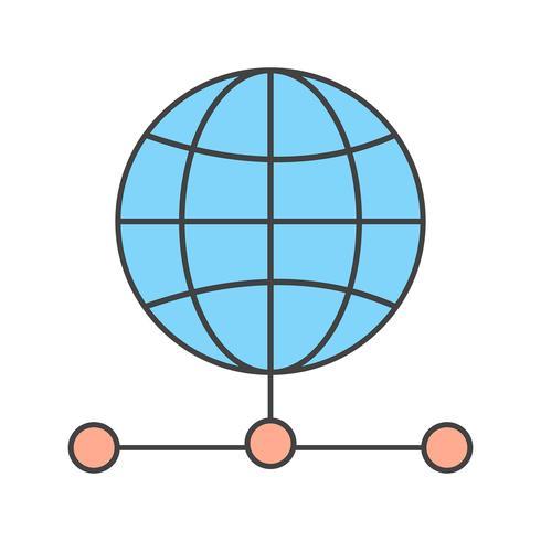 icône globale de serveur de vecteur