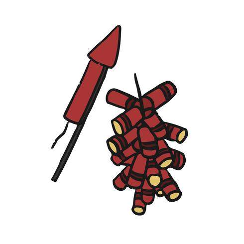 Illustration de feux d'artifice chinois dessinés à la main