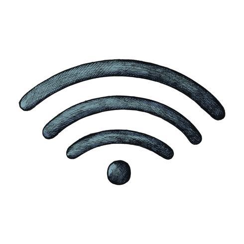 Illustration de l'internet sans fil bleu dessiné à la main