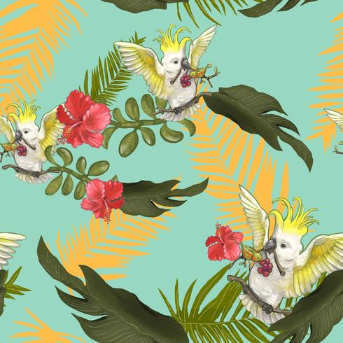 Illustration of birds on colorful forest trees