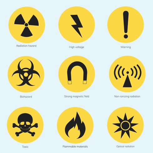 Collection of illustrated warning signs