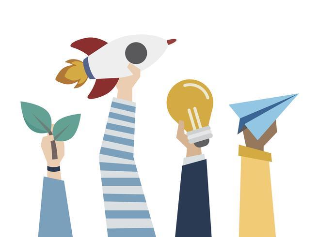 Ilustración de la puesta en marcha y el concepto de ideas creativas.