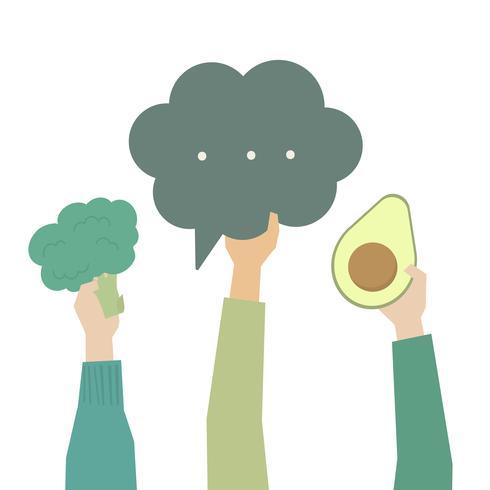 Mani che tengono l'illustrazione di verdure verdi