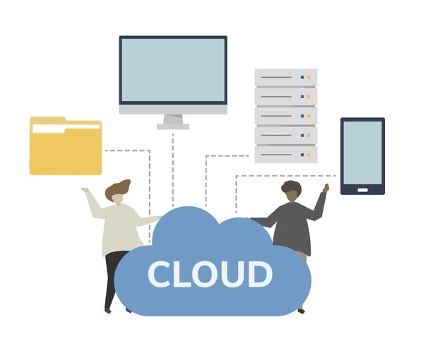 Datalagring cloud computing koncept illustration