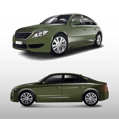 Green sedan car isolated on white vector