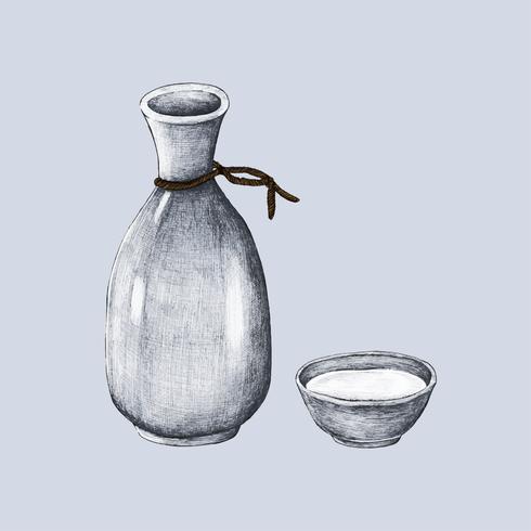 Illustrazione del vaso giapponese della bevanda dell'alcool