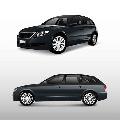 Voor en zijaanzicht van een zwarte minivan