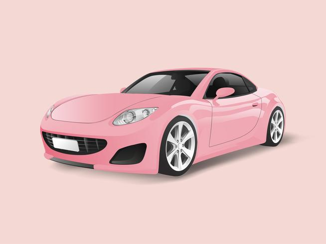 Pink sports car in a pink background vector