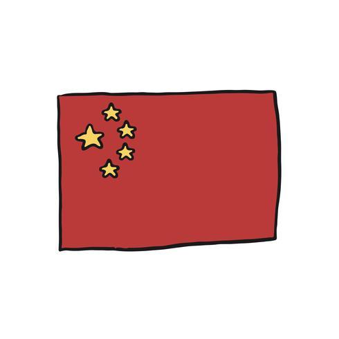 Hand gezeichnete Flagge der China-Illustration