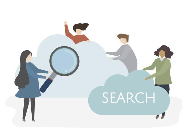 Ilustração, de, pessoas, com, nuvem