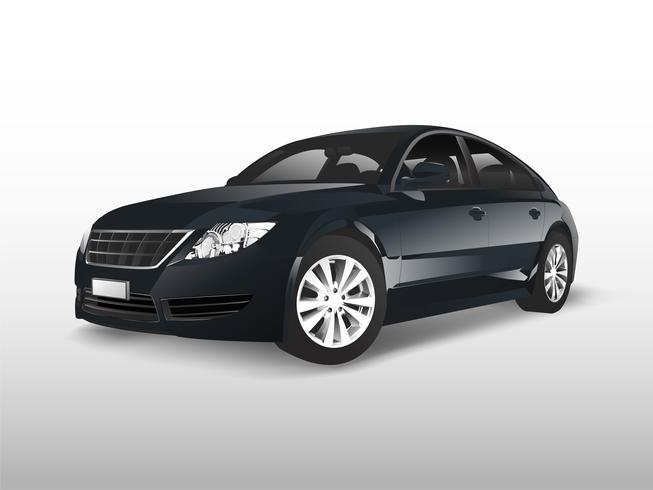 Black sedan car isolated on white vector