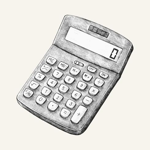 Handgetekende digitale calculatorillustratie