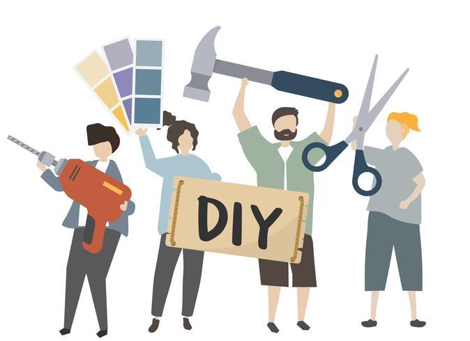 La gente che tiene l'illustrazione dell'attrezzatura di progettazione di DIY