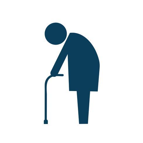 Ältere Personen mit Stockikonen-Piktogrammillustration