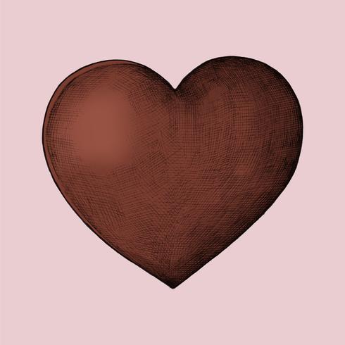 Illustrazione di cuore rosso disegnato a mano