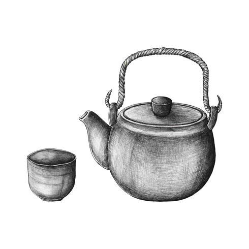 Ensemble de thé vert dessiné à la main