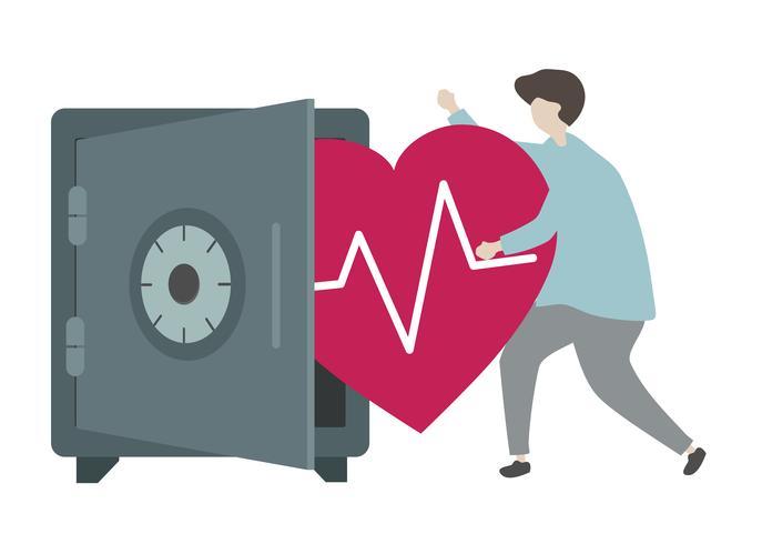Ilustração de um personagem e conceito de saúde