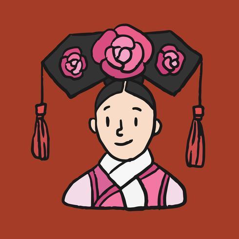 Mão desenhada mulher chinesa em traje de princesa vestido de dinastia Qing