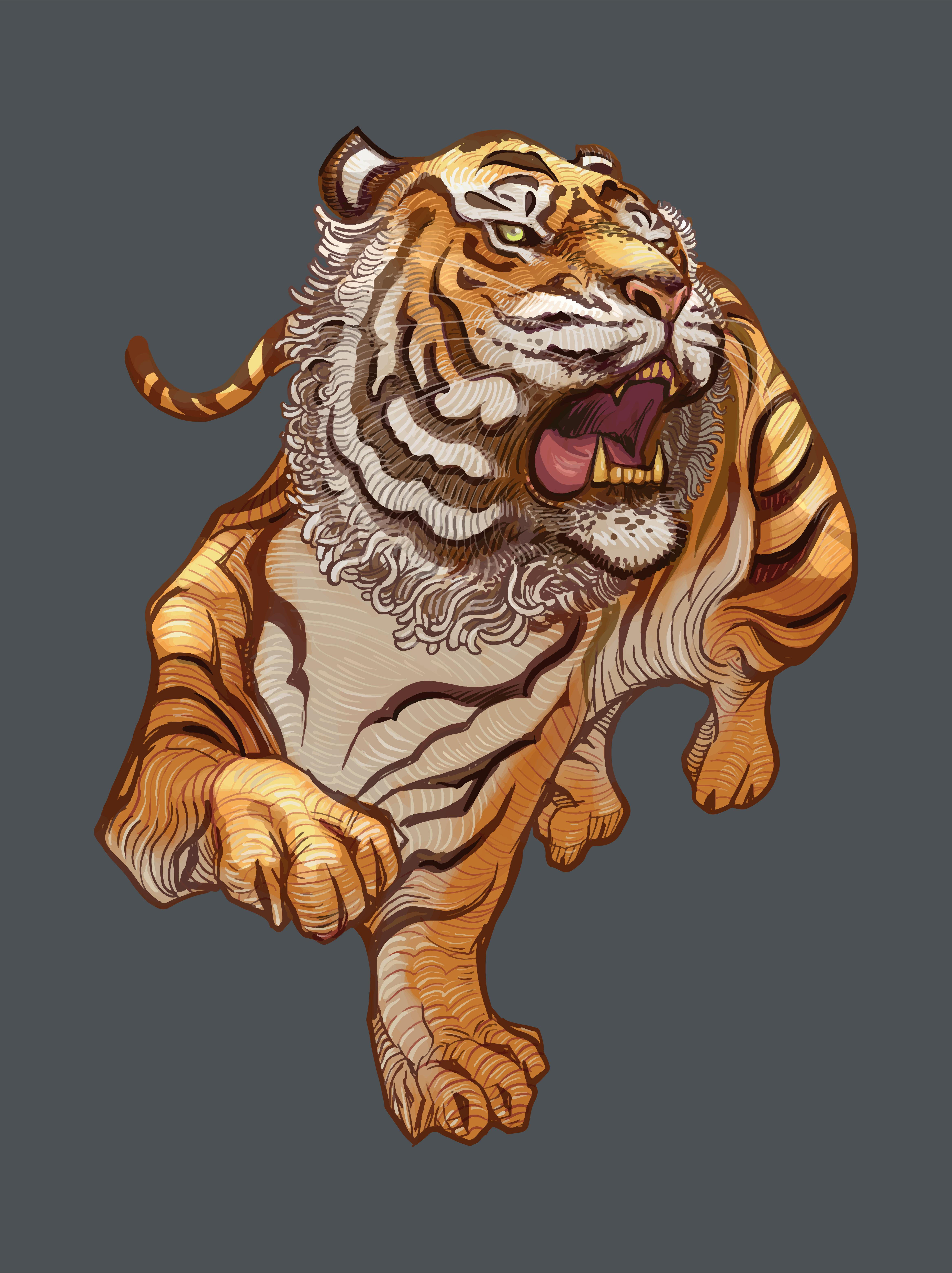 Смешной тигр рисунок