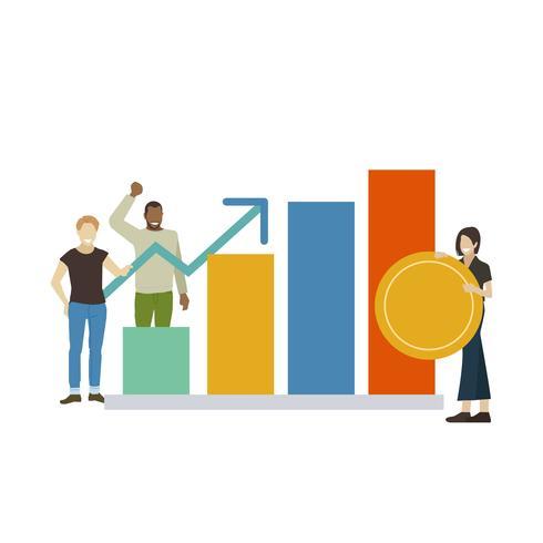 Persone illustrate con crescita del business di successo
