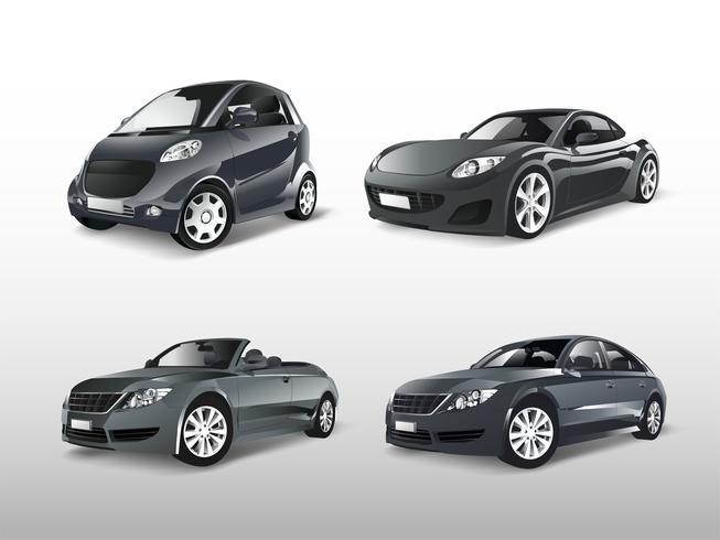 Set of various gray car vectors