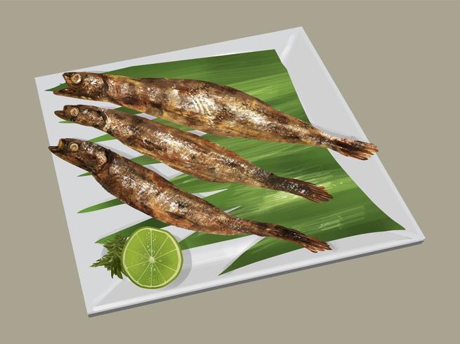 Holzkohle gegrillter japanischer Shishamo-Fisch