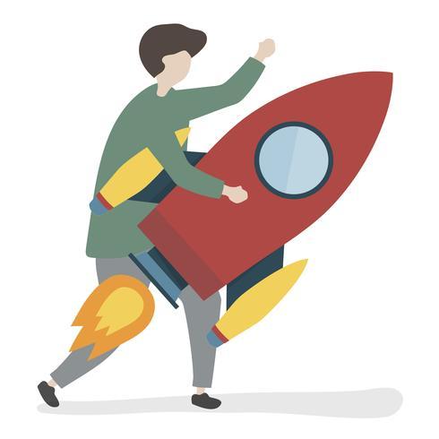 Illustratie van een karakter dat een raket houdt