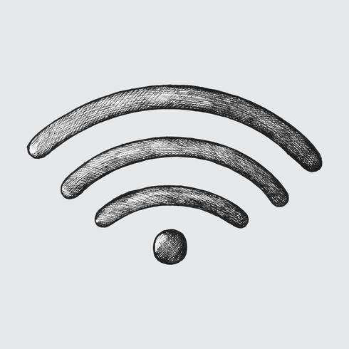 Illustration internet sans fil dessiné à la main