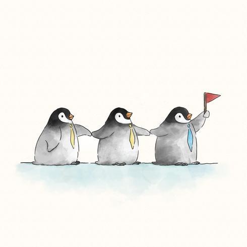 Drei nette Pinguine mit einer Flagge
