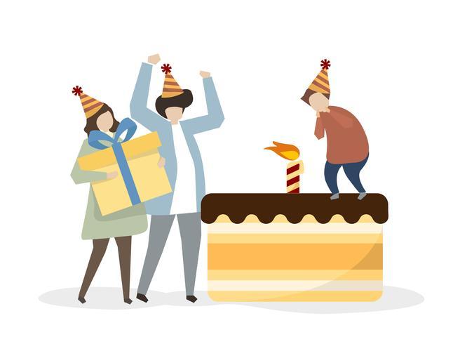 Famille, célébrer, anniversaire, ensemble