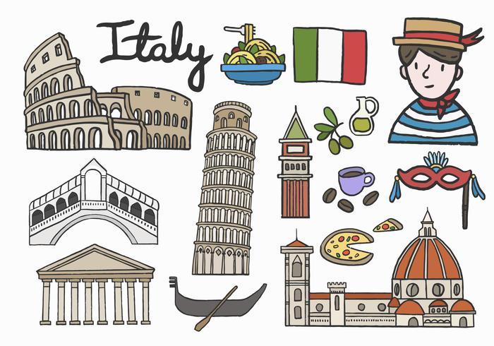 Set van iconische Italiaanse bezienswaardigheden