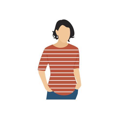 Illsutrated mulher madura em pé sozinho