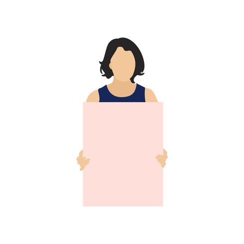 Illustrerad kvinna med tomt papper