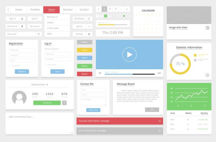 Illustrazione di layout modello di sito Web design