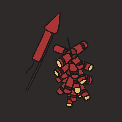 Hand drawn Chinese fireworks illustration