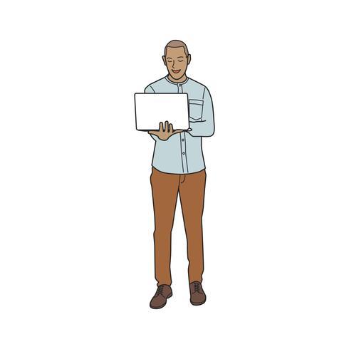 Hombre maduro ilustrado que usa la computadora portátil