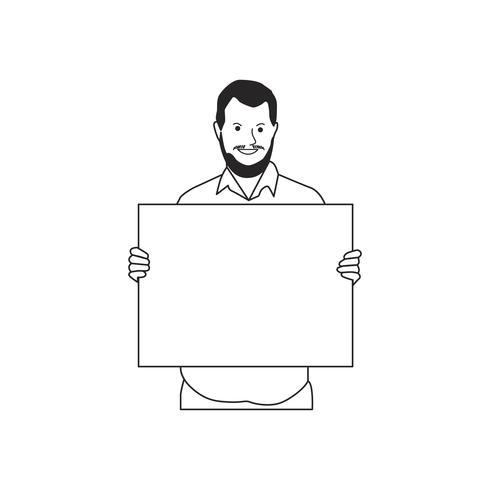 Illustrerad skäggig man håller tomt papper