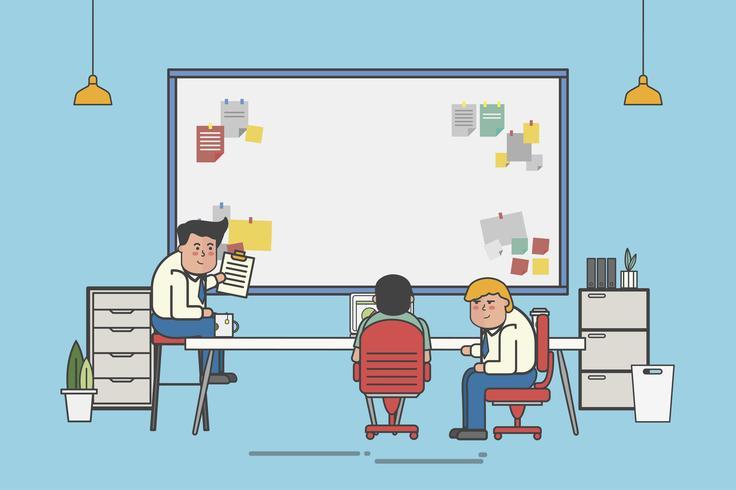 Uomini d'affari che progettano su un'illustrazione della scheda