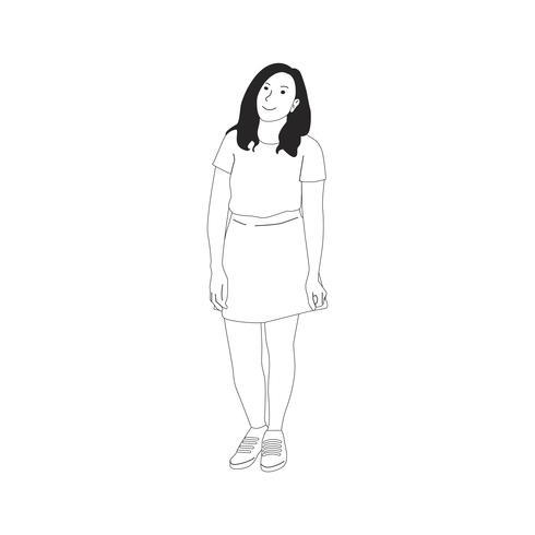 Illsutrated jonge vrouw die alleen staat