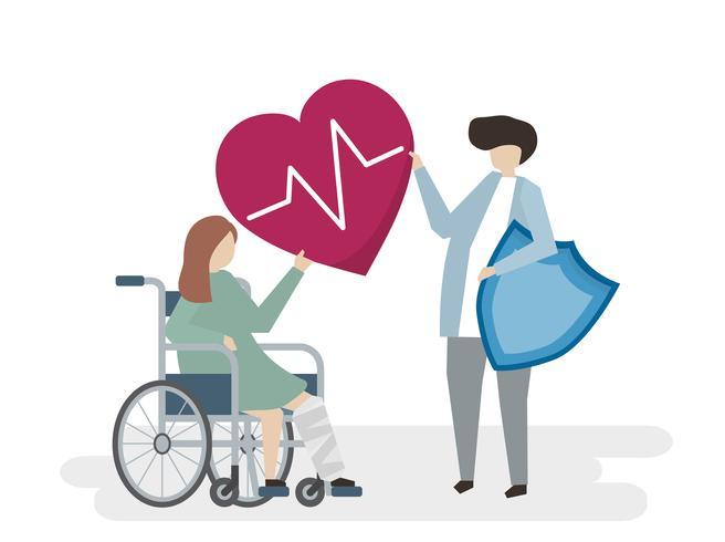 Illustration av personer med sjukvård
