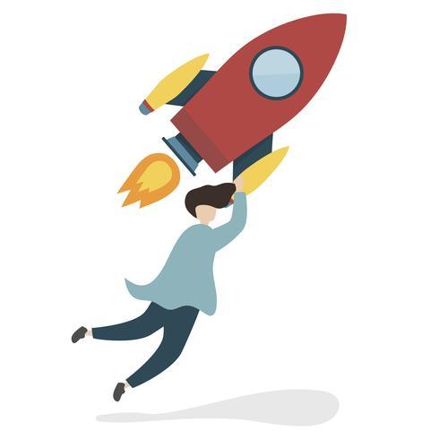 Ilustração de um personagem com um foguete voador