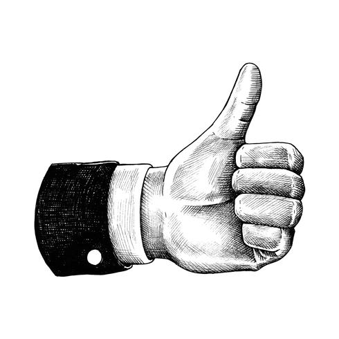 Hand drawn thumb up isolated on white background