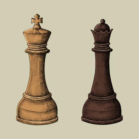 Von Hand gezeichnete Schachkönig- und -königinillustration